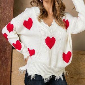 Sweaters - Frayed V-Neck Cozy Heart Knit Sweater